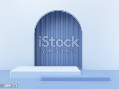 istock 3d minimal scene with geometrical forms. Trendy platform. Arch with a podium in pastel blue colors. 3d render. 1093971576