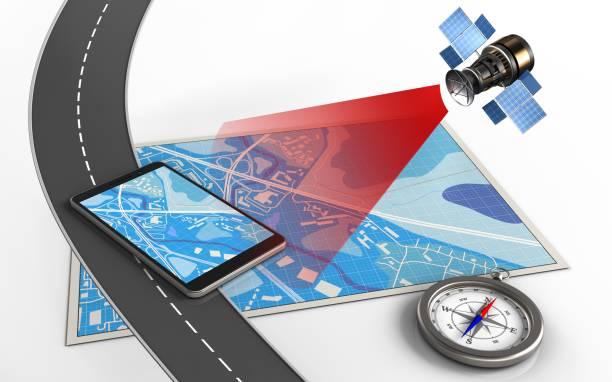 3 d handy - kompass wanderkarte stock-fotos und bilder