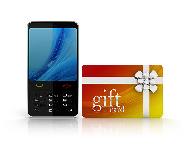 3d mobile phone with gif card stock photo