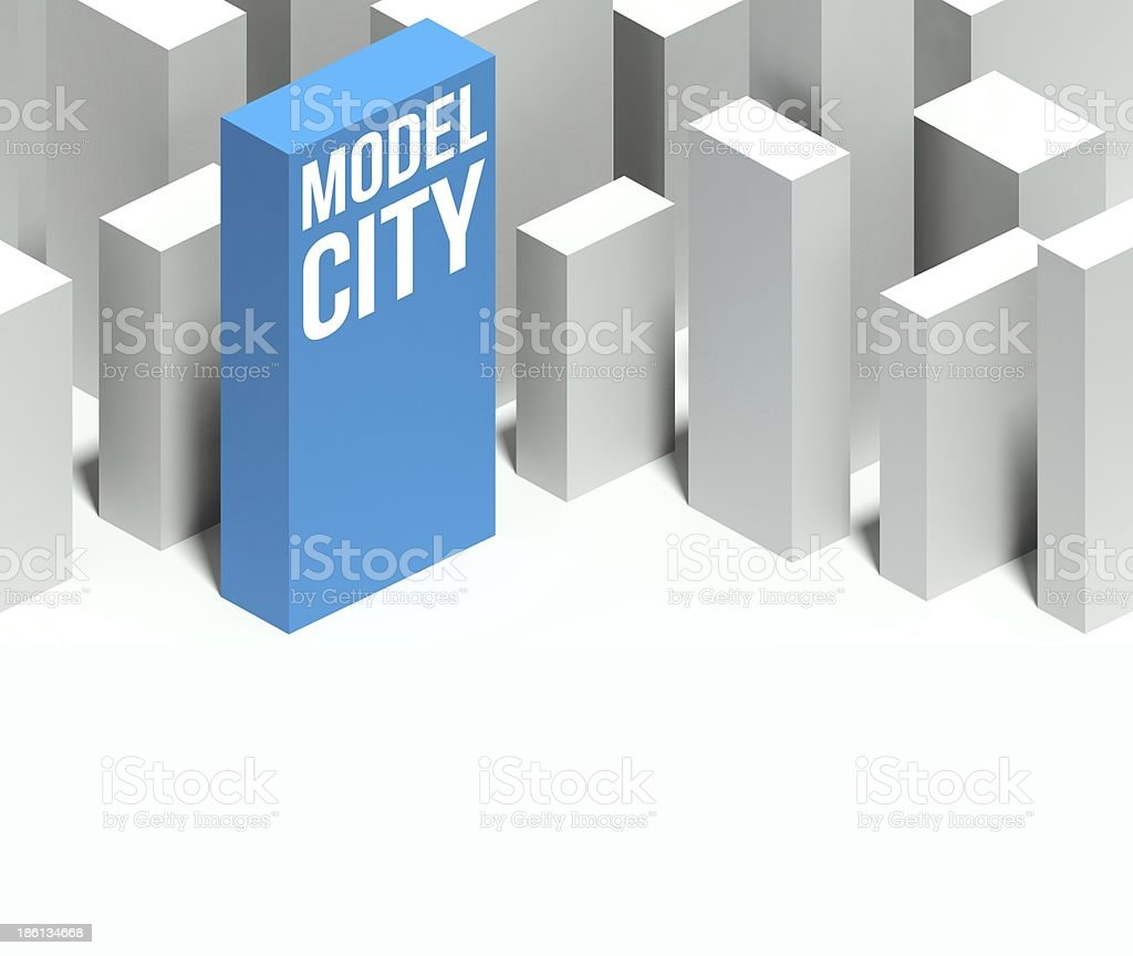 3d model city conceptual downtown with distinctive skyscraper royalty-free stock photo