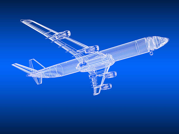 3d model Flying airplane stock photo