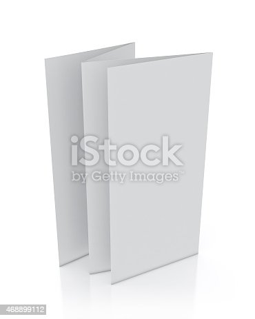 istock 3d model of blank leaflet standing, isolated on white background 468899112