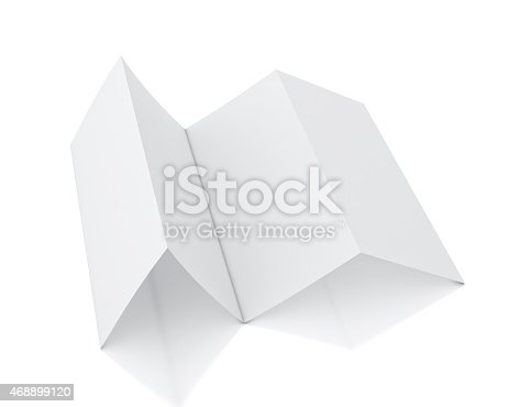 istock 3d model of blank leaflet standing, isolated on white background 468899120