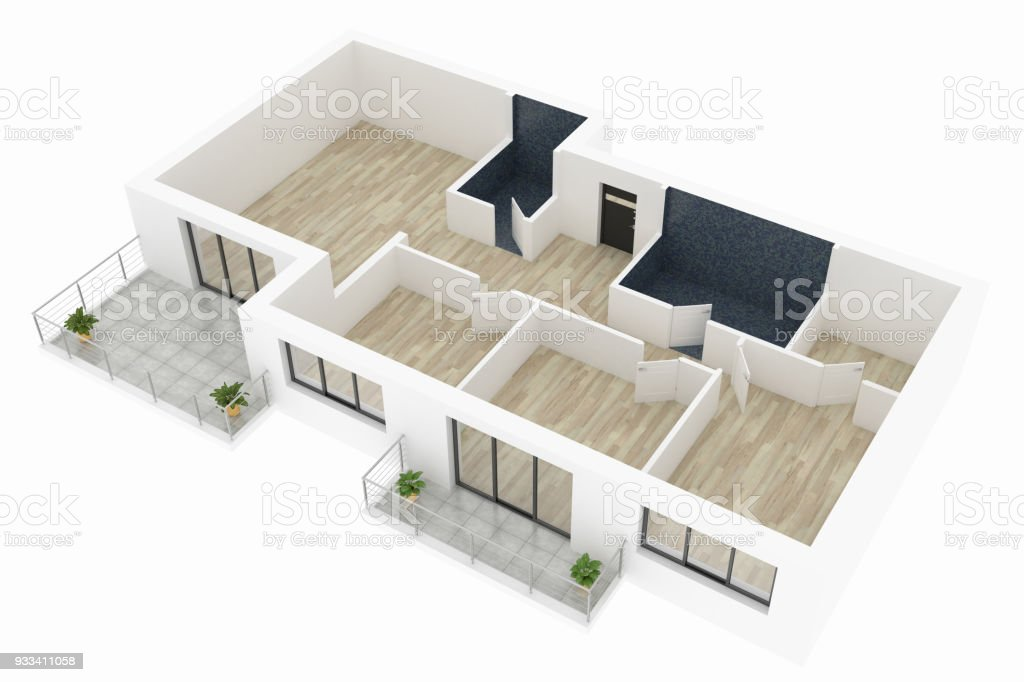 3d model of empty home apartment stock photo
