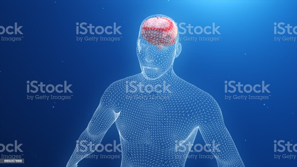 3d model of man and brain with impaired impulses stock photo