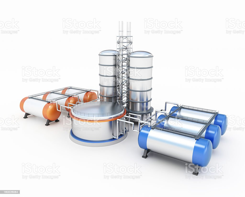 3d model of oil factory royalty-free stock photo