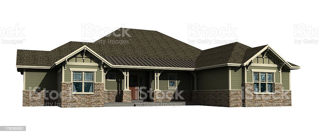 3d model of ranch house isolated on white stock photo