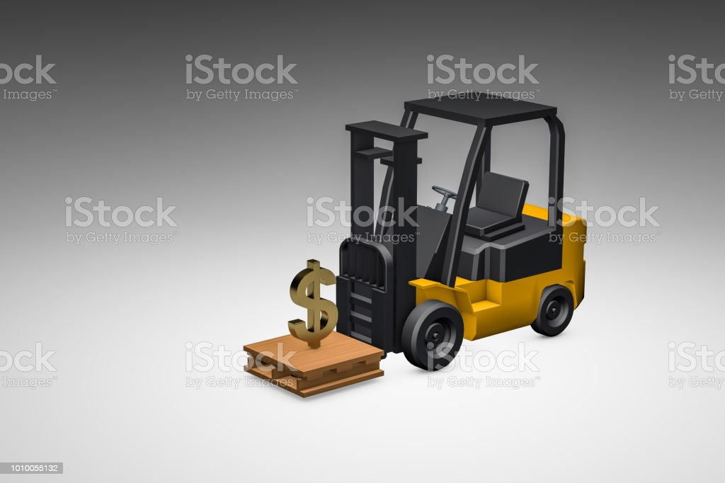 3d Modeling Forklift And Money Stock Photo - Download Image Now - iStock
