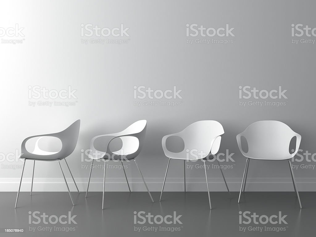 3d modern chair on white wall stock photo