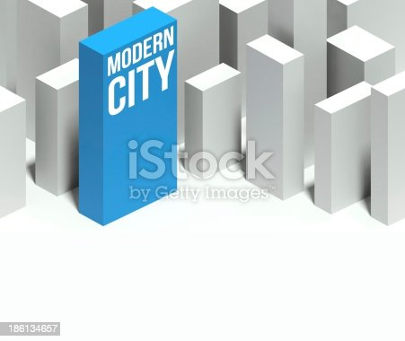 507211099istockphoto 3d modern city conceptual model of downtown with distinctive skyscraper 186134657