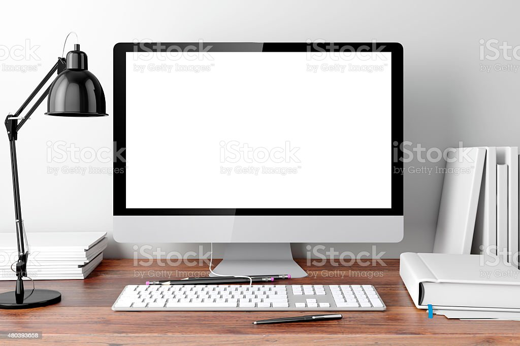3d modern computer workplace stock photo
