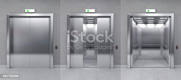 istock 3d modern elevator 494760008