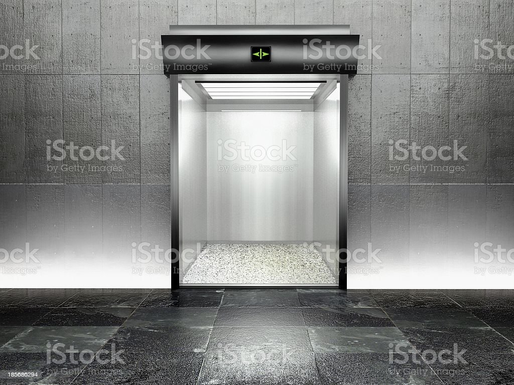 3d modern elevator with open door stock photo
