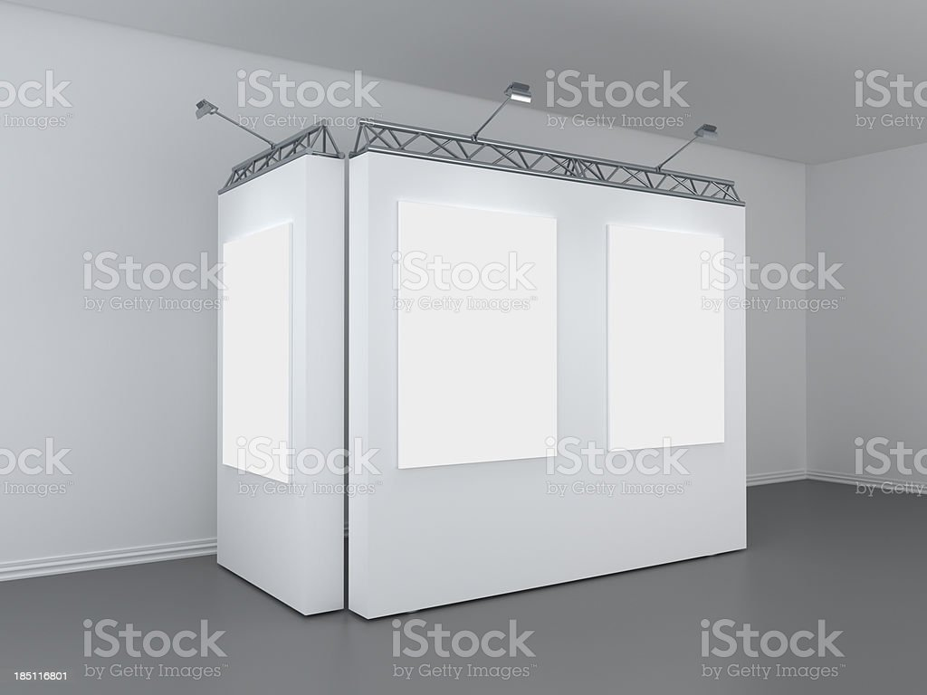 3d modern exhibition space, perspective view stock photo