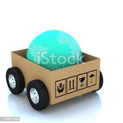 istock 3d modern globe in Cardboard boxes 179875454