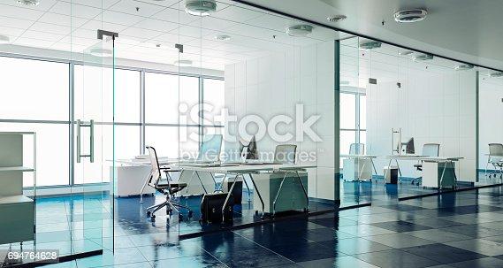 istock 3d modern office interior render 694764628