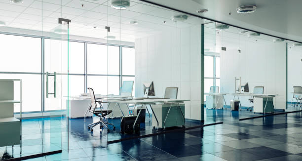3d render interior de bureau moderne - open space photos et images de collection