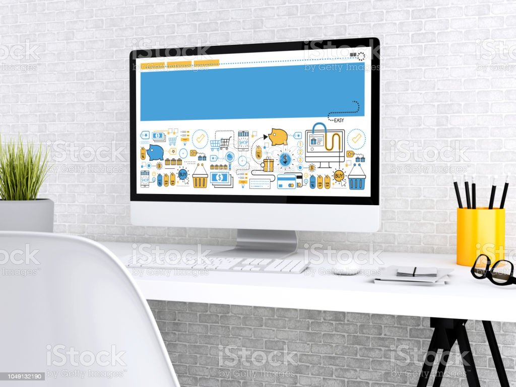3d Modern workspace with computer. stock photo