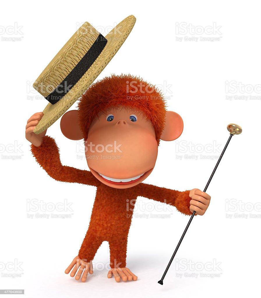 3d monkey dances a step stock photo