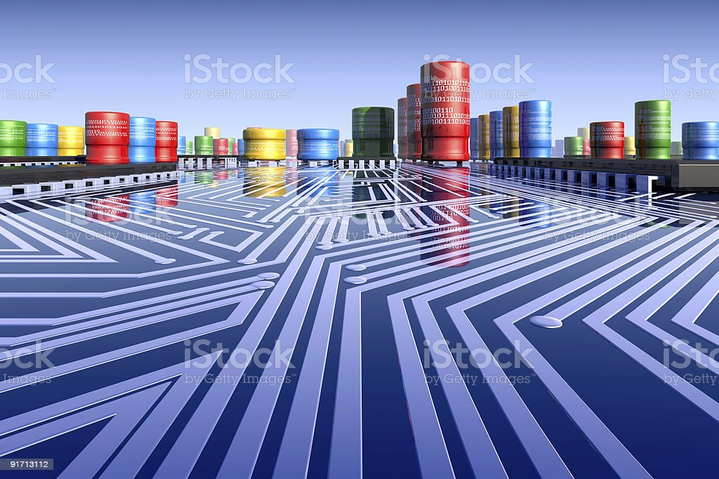 3d motherboard's landscape. royalty-free stock photo