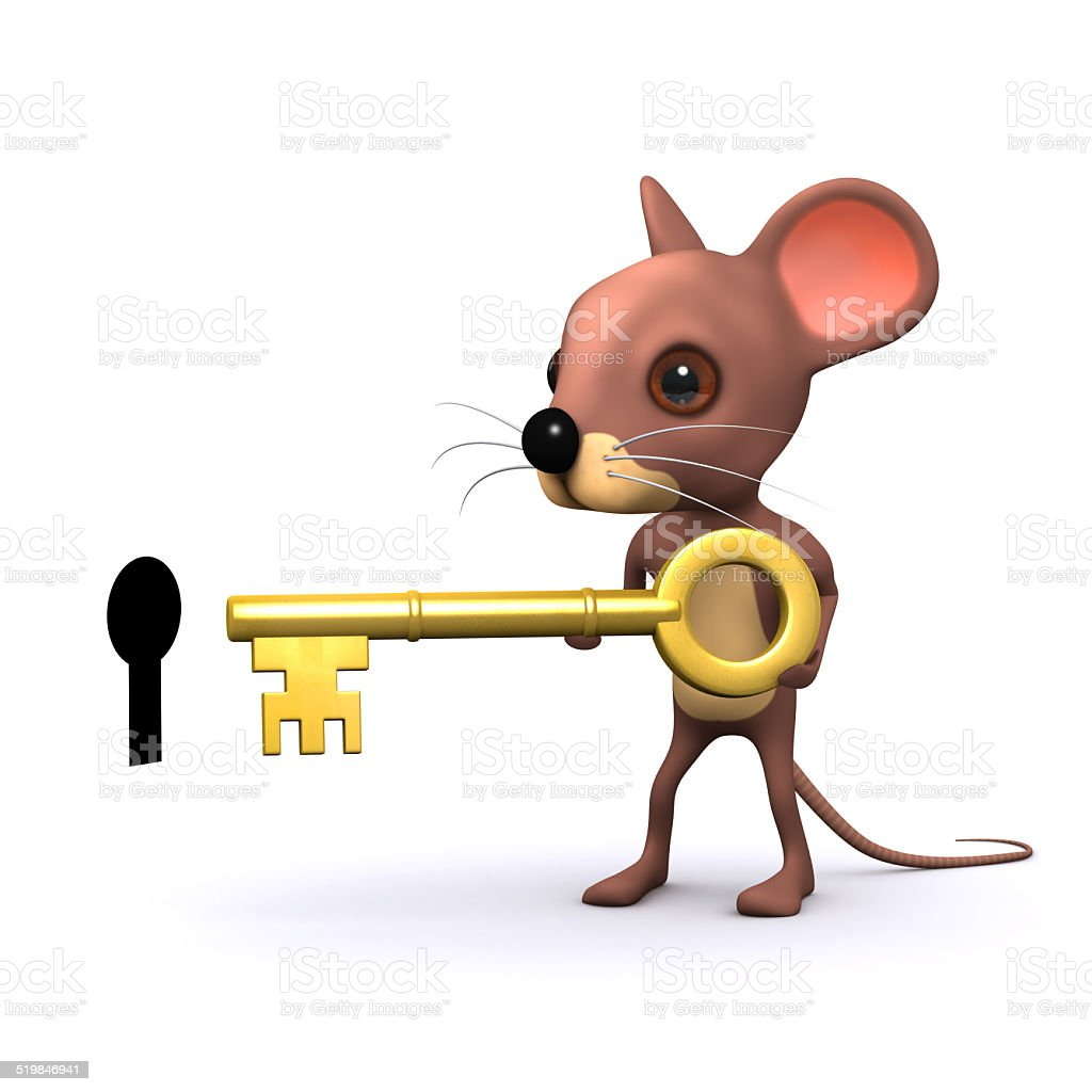 3d Mouse unlocks the door stock photo