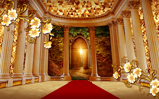 3d mural wallaper . interior palace columns with golden flowers and red carpet with texture golden abstract . 3d, 3d illustration, 3d rendering, 3d visualization, abstract, antique, architecture, art, building, classic, classic interior, column, columns, culture, empty, entrance, famous, floor, flowers, gallery, golden, hall, hermitage, historical, illustration, indoor, inside, interior, landmark, luxurious, luxury, majestic, marble, museum, nobody, old, ornate, palace, parquet, petersburg, room, russia, russian, saint, scene, state, throne, tourism, travel, wall