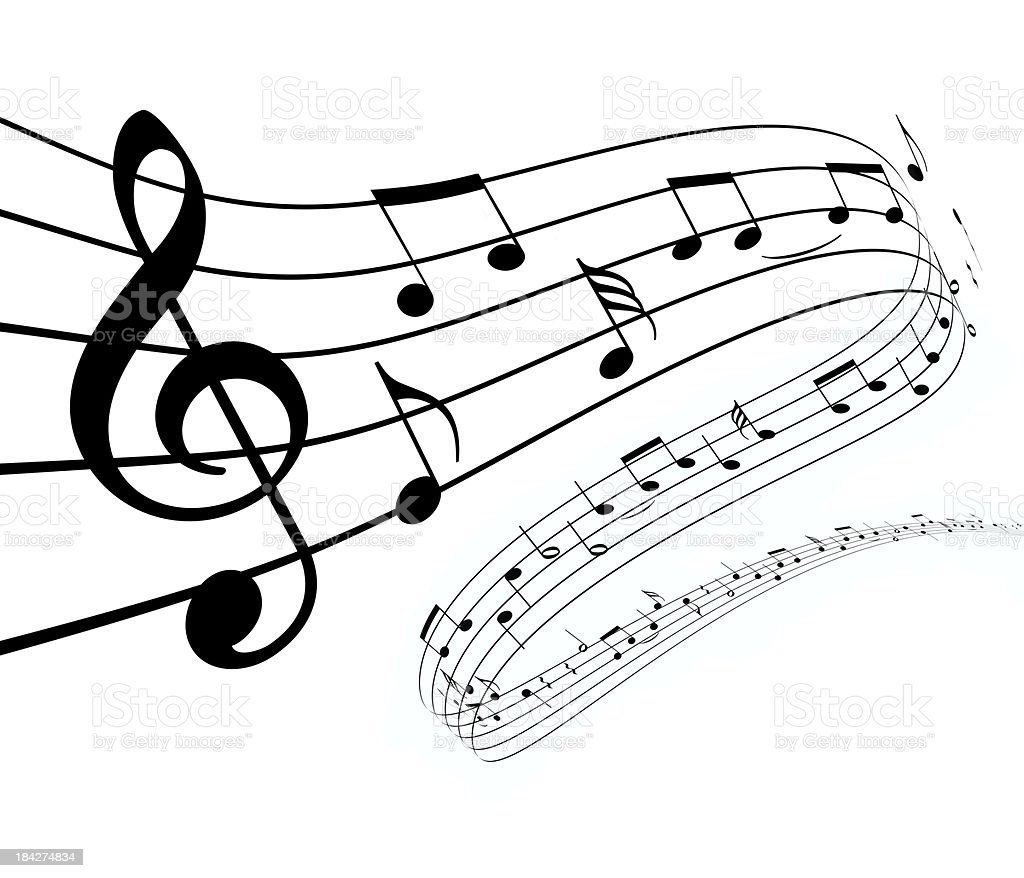 3d music notes dancing away stock photo