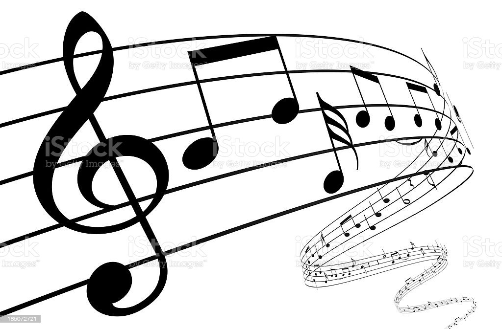 3d music notes dancing away royalty-free stock photo