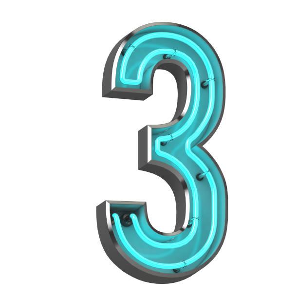 3d neon number three - terceira imagens e fotografias de stock