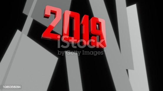 istock 3d New year 2019 black and red modern 3d design 1085358094