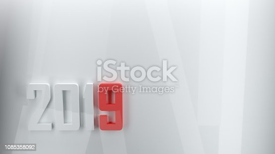 istock 3d New year 2019 white and red modern 3d design 1085358092