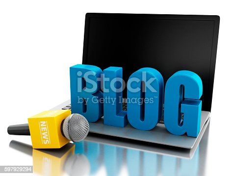 1056306726istockphoto 3d News microphone and laptop with word BLOG. 597929294