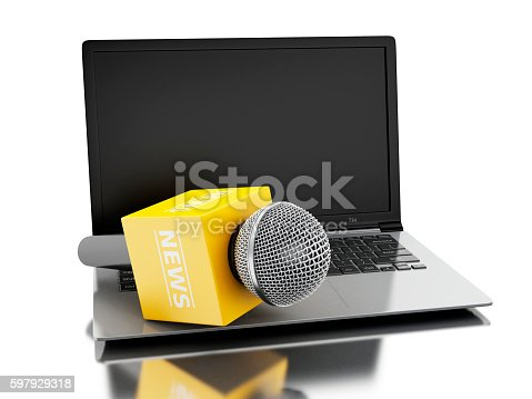 1056306726istockphoto 3d News microphone tv with laptop. 597929318