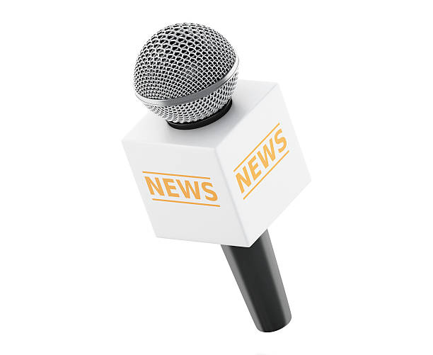 3d News microphone tv with yellow box. stock photo