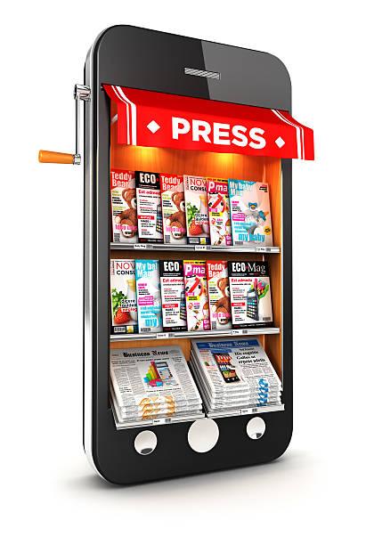 3d newsstand smartphone stock photo