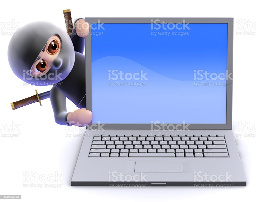 3d Ninja assassin behind laptop pc stock photo