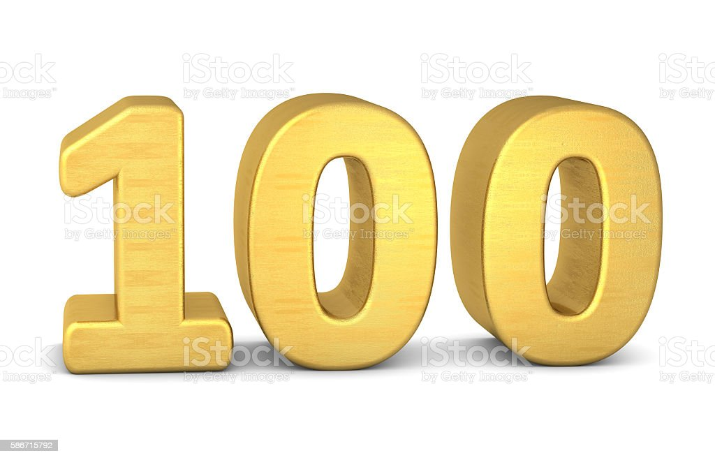 3d number 100 gold stock photo