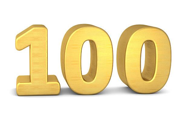 3d number 100 gold - nummer 100 stock-fotos und bilder