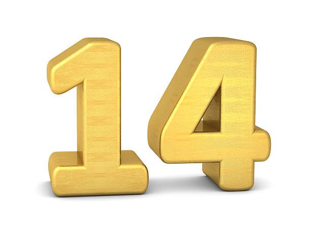 3d number 14 gold stock photo