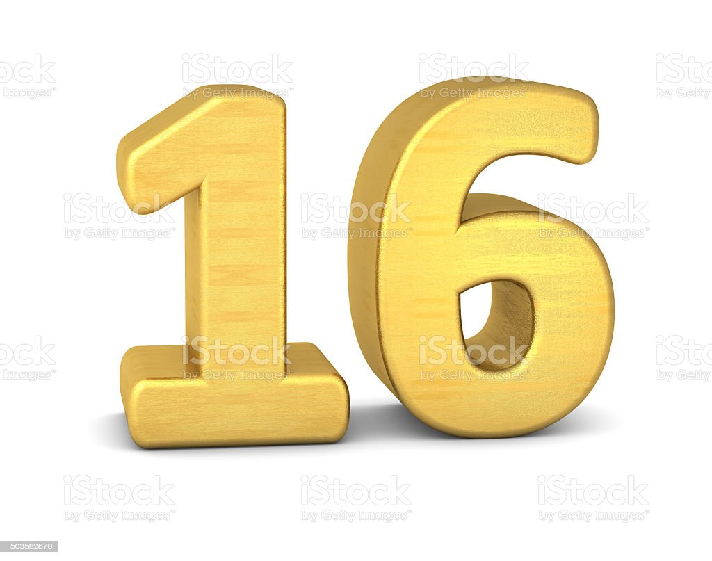 3d number 16 gold stock photo