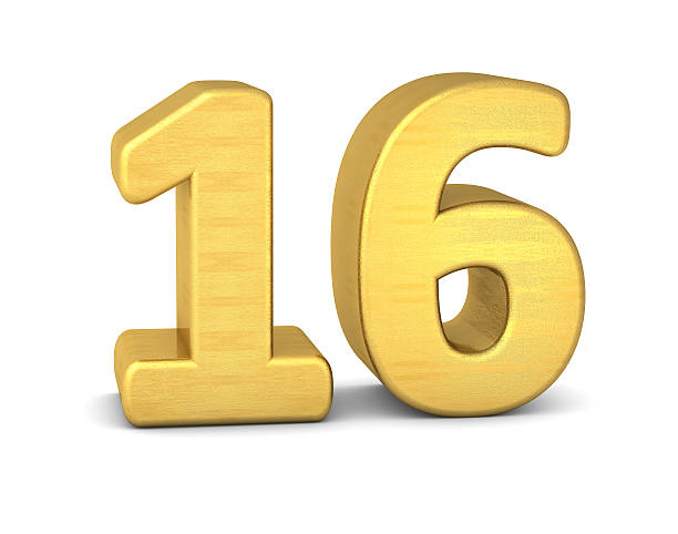 3d number 16 gold - number 16 stock photos and pictures