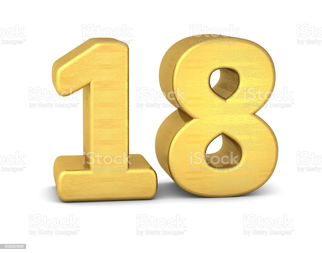 3d number 18 gold stock photo