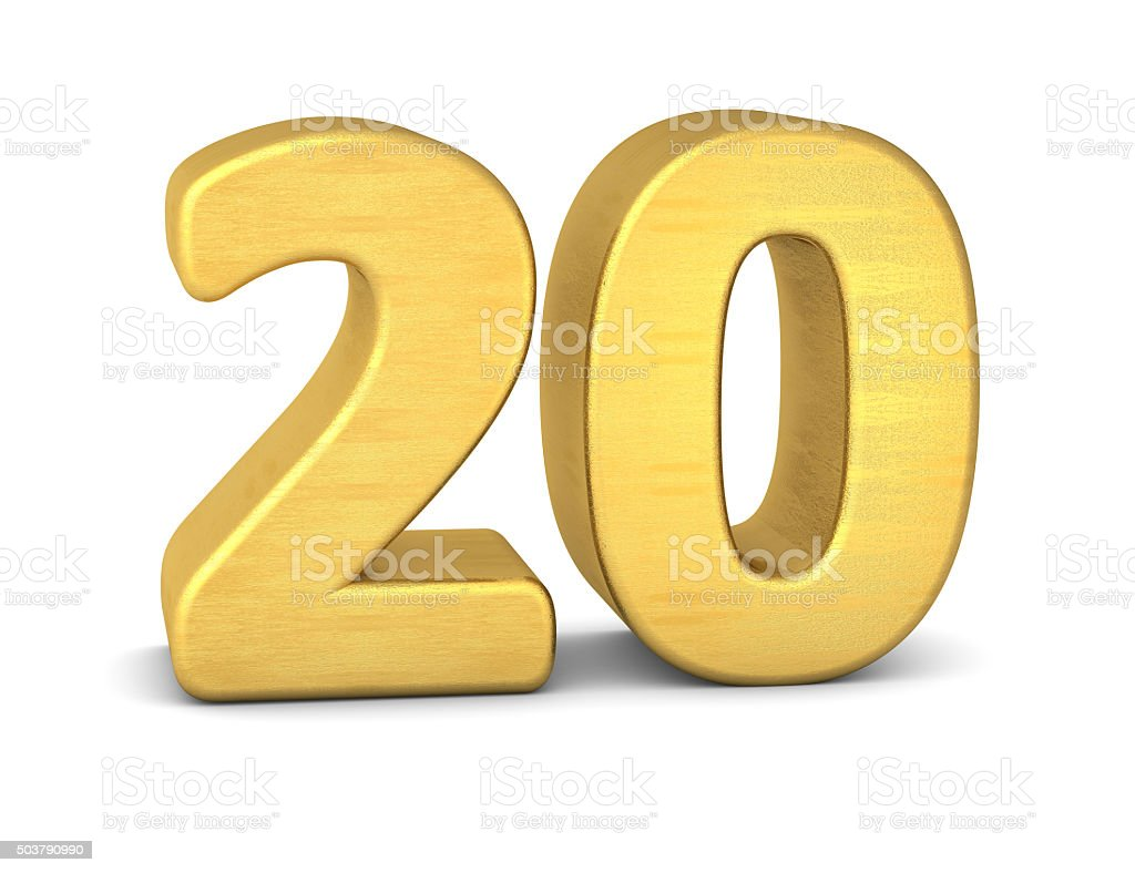 3d number 20 gold stock photo