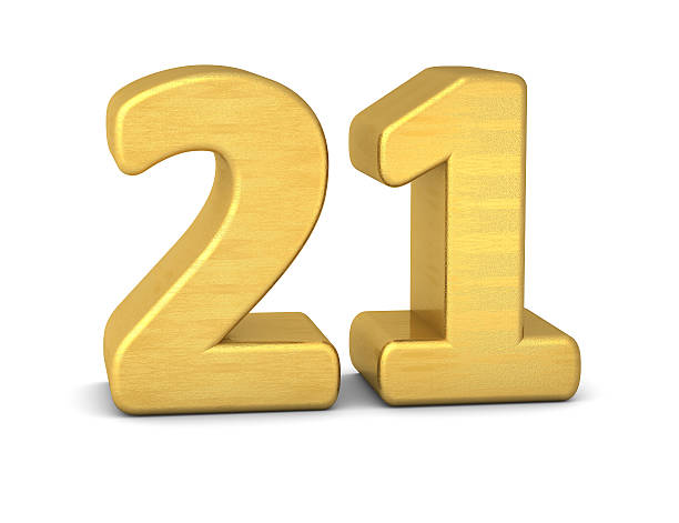 3d number 21 gold - number 21 stock photos and pictures