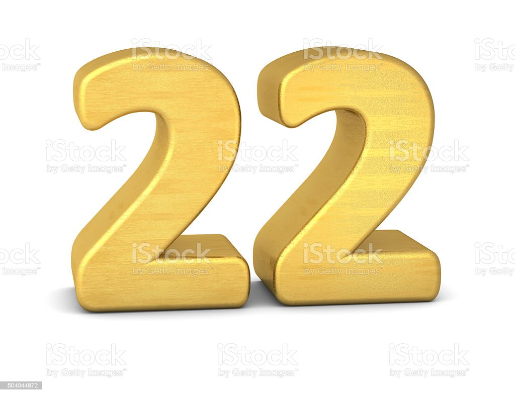 3d number 22 gold stock photo