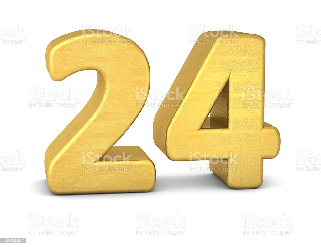 3d number 24 gold stock photo