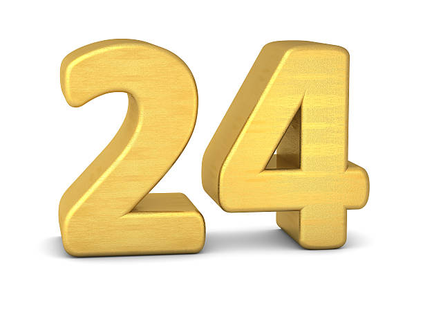 3 d numéro 24 gold - nombre 24 photos et images de collection