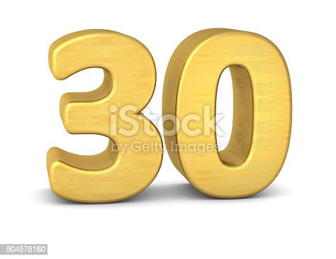 istock 3d number 30 gold 504575160