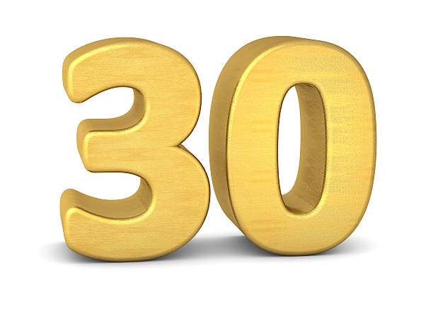 3d number 30 gold - number 30 stock photos and pictures