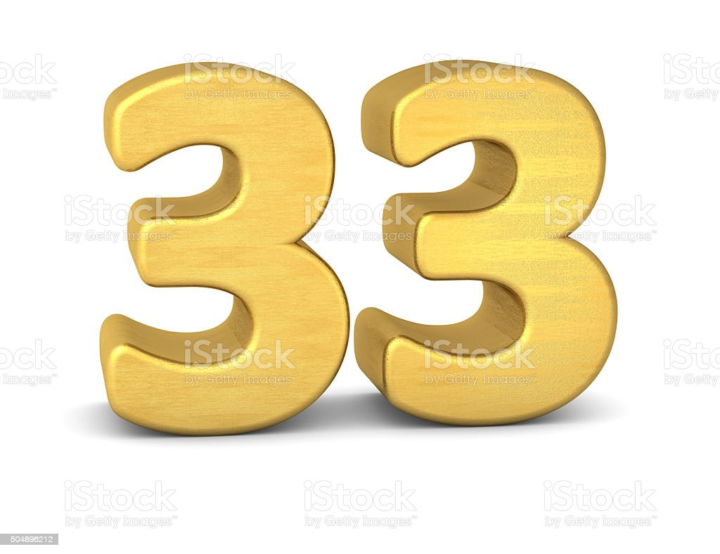 3d number 33 gold stock photo